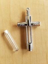 1 Cross Fillable Metal Charm Glass Pendant for Necklace or Braclet w/ Tube Charm