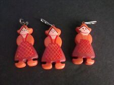 3 VINTAGE MINIATURE DUTCH GIRL TRINKETS- CRACKER JACK PRIZES