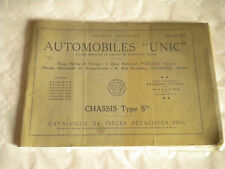 Vintage parts catalogue 1936 Unic Automobiles Chassis Type S25 French