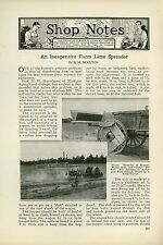 1923 Magazine Article Farm Lime Spreader Built Michigan Agricultural College
