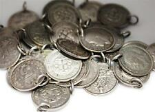 VINTAGE ANTIQUE SILVER THREE PENCE COIN CHARM for BRACELET Dated 1910 to 1941