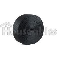 2 Inch Polypropylene Heavy Webbing 25 Yards- 2 Rolls 12.5 Yard Each Black