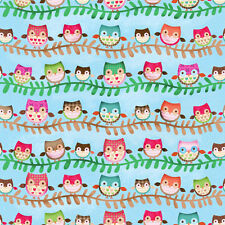 SPX Friendly Forest Fabric. Owls in Blue. Woodland, Owl. By the Fat Quarter