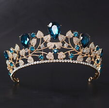 6cm High Adult Blue Big Drip Crystal Leaf Tiara Crown Wedding Pageant Prom