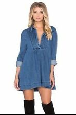 Free People S DENIM Jean Indigo Tunic Dress Swingy $148 Baby Doll Blues Robins