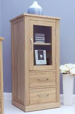 Nara hi-fi stereo cabinet unit solid oak living room furniture