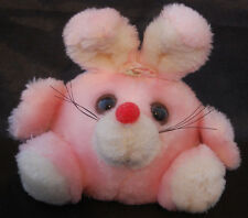 "Bunny Rabbit Poly Pink White Red Nose Russ Vintage Plush Bean Bag Ball  6"" Toy"