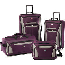 American Tourister Fieldbrook II Four-Piece Luggage Set (Purple/Grey)
