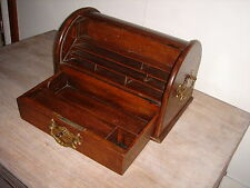 Edwardian Oak Stationary Box/Tambour Top/Lock/Key/Fitted Interior/Brass Handles