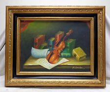 Violin & Books Still Life Oil Painting w. Gold Antique Style Decorative Frame