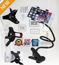 Flexible Long Arms Lazy Stand Clip Holder For Mobile Phone Desktop Bed Car Black