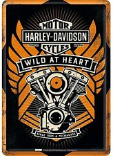 Harley Davidson Wild At Heart metal postcard / mini-sign    150mm x 110mm  (na)
