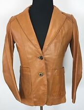 Vintage Women's Sheep Mates Lined Tan Leather Jacket Coat Size Small *VERY NICE*