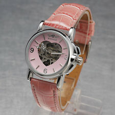 Cute Sweet Light Pink Charming Skeleton Auto Mechanical Women's Leather Watch