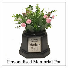 Personalised Memorial Vase Pot for Grave Headstone Black/Silver Any Name Text