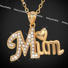 Mum Heart Necklace Gold Jewellery Crystal Pendant Xmas Gifts For Her Mother Mom