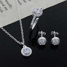 fashion women lady wedding hot silver crystal necklace earring ring jewelry set