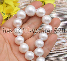 Z7513 Lustre 16mm WHITE ROUND Edison KESHI REBORN PEARL TOWER NECKLACE 17inch