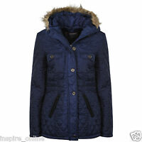 Womens Ladies Military Fur Hooded Jacket Warm Winter Zip Up Parka Coat Outerwear
