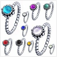 Birthstone 925 silver ring European charm Women rings lady band Fit gift UK
