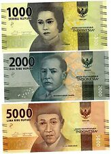 LOT SET SERIE 3 BILLETS Indonesie INDONESIA RUPIAH 2016 PNL NEW NOUVEAU NEUF UNC