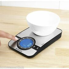 Brabantia Digital LCD Kitchen Scale Stainless Steel 5kg With Timer Add & Weigh