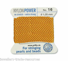 AMBER YELLOW NYLON POWER SILKY THREAD 1.05mm STRINGING PEARLS & BEADS GRIFFIN 16