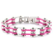Womens Pink / Silver Stainless Steel Bikers Motorcycle / Bike Chain Bracelet USA