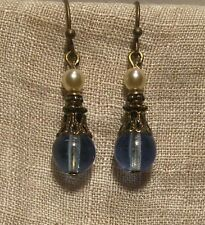 BRONZE FILIGREE LT. SAPPHIRE BLUE PEARL GLASS DAINTY EARRINGS EDWARDIAN DECO
