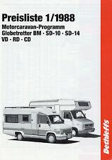 LISTINO prezzi DETHLEFFS Ruolotte MOTORE 1/88 1988 viaggio mobile Globetrotter sd-14 sd10