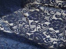 "NEW Designer Navy Crochet Rose&leaf Floral Lace Fabric 60""152cm Art Craft Trim G"