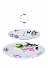 Kirsty Jayne China BONE CHINA June Rose pink flowers 2 TIER CAKE STAND* BOXED