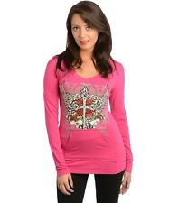 Women Hot Pink Hoodie Sweater Top with Wings and Rhinestones - Size Small