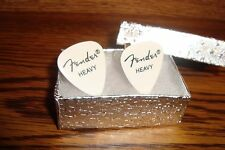 Fender Heavy WHITE Guitar Pick Cuff links 1 Pair (Two) Gold Plated  * NEW