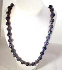 "Vintage 1980's  28"" Single Strand Blue Glass Beads Gold Tone Accent &  Clasp"