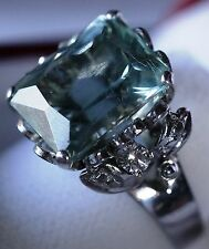 8ct 8.3g 18K White Gold Blue-Green AQUAMARINE Ring, Deco Diamond Accents, Size 8