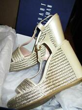 STUART WEITZMAN ~ $410 LEATHER METALLIC GOLD ESPADRILLES WEDGE PLATFORM SHOES 10