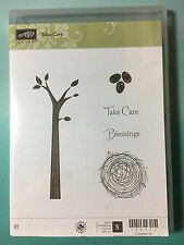 Stampin' Up 'Take Care' Photo Polymer Cling Stamps Tree Leaves Nest Blessings
