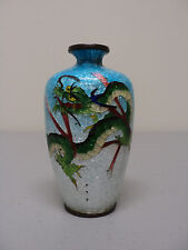 JAPANESE CLOISONNE GINBARI ENAMEL ON BRONZE MINIATURE DRAGON VASE SIGNED