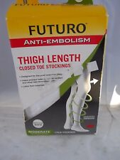Futuro Anti-Embolism Stockings Thigh Length Closed Toe medium, moderate White