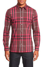 NWT BURBERRY BRIT Mens Nelson TRIM FIT Check/Oxblood Sport Shirt Size L NEW $325