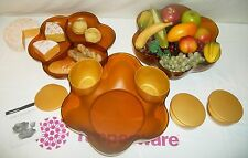 Tupperware 10 pc Open House 1.5 gallon Chip N Dip Bowls NLA Jewel Gem AMBER GOLD