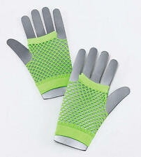 NEON GREEN FISHNET GLOVES RAVE FESTIVAL FANCY DRESS