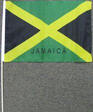 """JAMAICA FLAG 12X18 12"""" X 18"""" JAMAICAN WOOD STICK W15"""