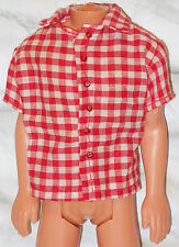 Barbie Ken Red White Check Short Sleeved Collared Polo Shirt Top Classy Casual