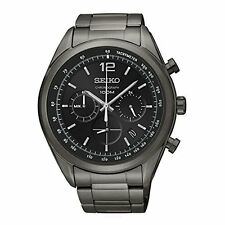Seiko Chronograph Black Dial Black PVD Mens Watch SSB093
