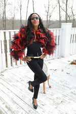 New Designer Custom ruffled red black Matador bolero coat Jacket Stroller XS 0-4