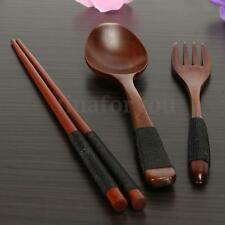 Japanese Natural Wooden Chopsticks Spoon Fork Tableware With Cloth Packing Kit