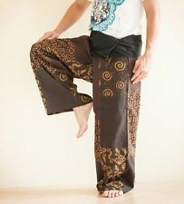 HIPPIE UNIQUE PATCHWORK THAI FISHERMAN MEDITATION TROUSERS YOGA PANTS BROWN SOL9