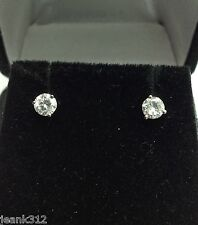 14K White Gold 0.51 Carats Round Cut Martini Diamond Stud Earring Christmas Gift